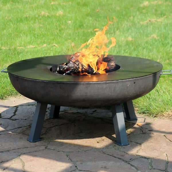 Sunnydaze Large Outdoor Wood-Burning Fire Pit Bowl with Cooking Ledge - 40-Inch