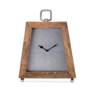 "14.5"" Mango Wood and Iron Roman Numeral Desk Clock - brown"