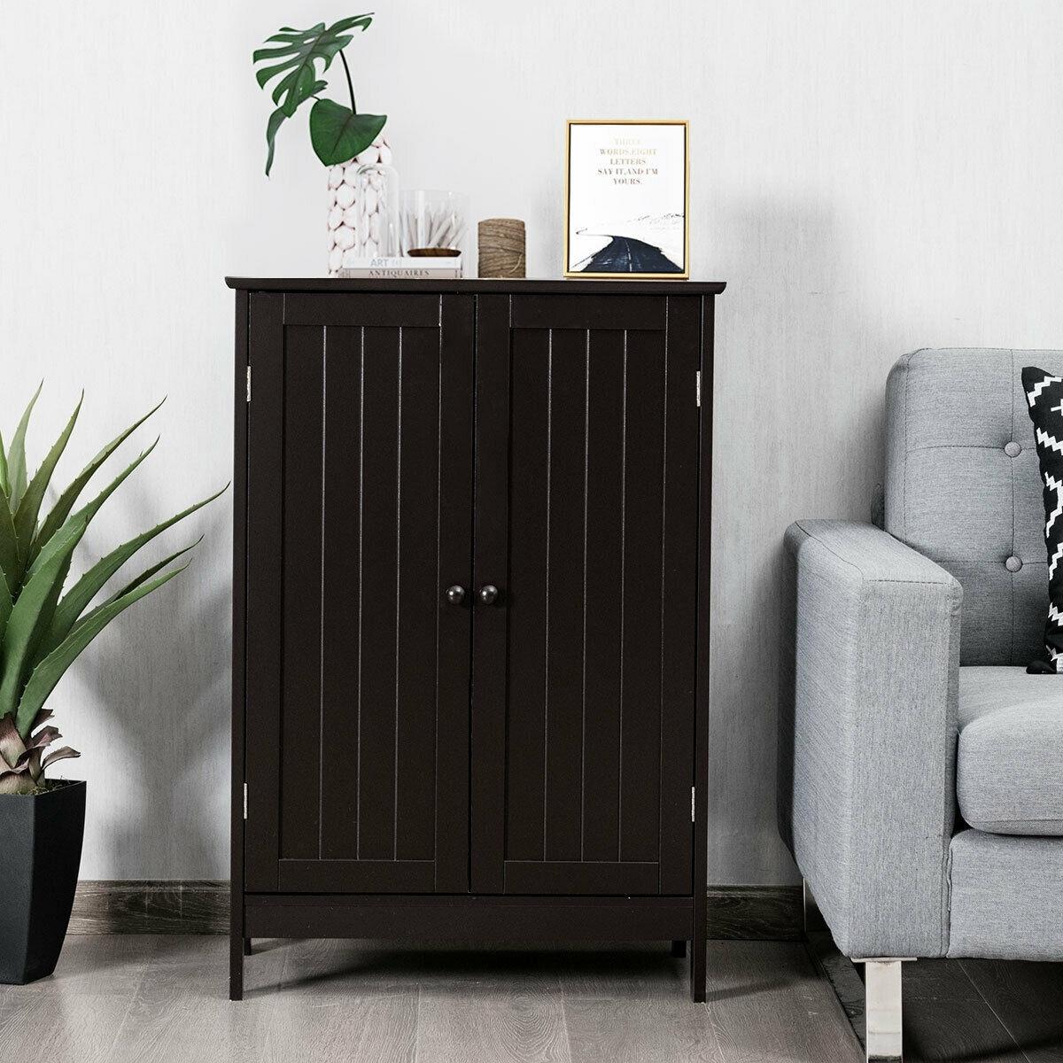 Gymax Bathroom Floor Storage Cabinet