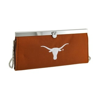 Embroidered Texas Longhorns Fabric Clutch Wallet w/Chain Strap - Burnt Orange