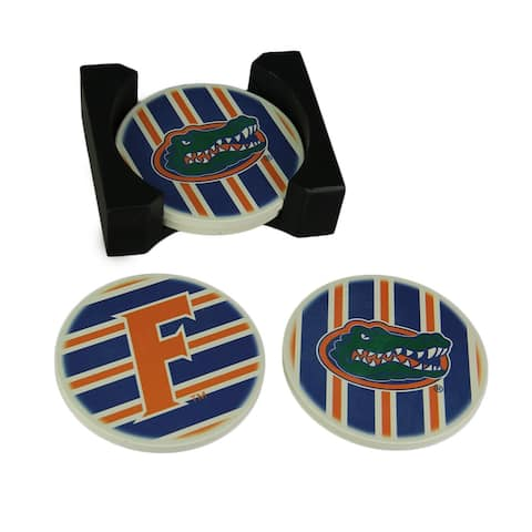 University of Florida Gators 4 Piece Absorbent Coaster Set With Caddy - 1.75 X 5 X 4.25 inches