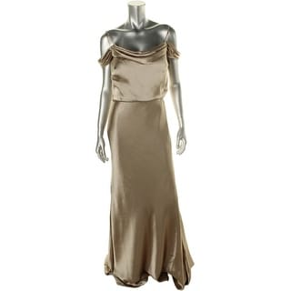 Jenny Yoo Womens Satin Off-The-Shoulder Semi-Formal Dress - 16