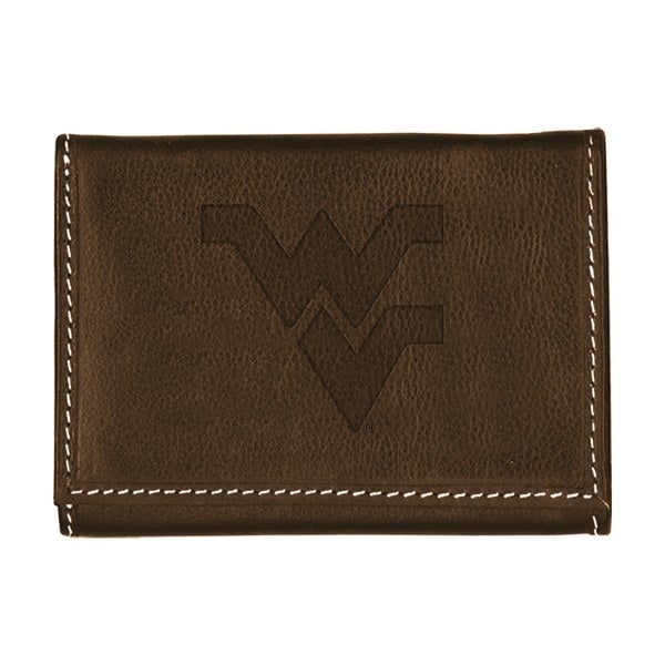 West Virginia University Contrast Stitch Trifold Leather Wallet