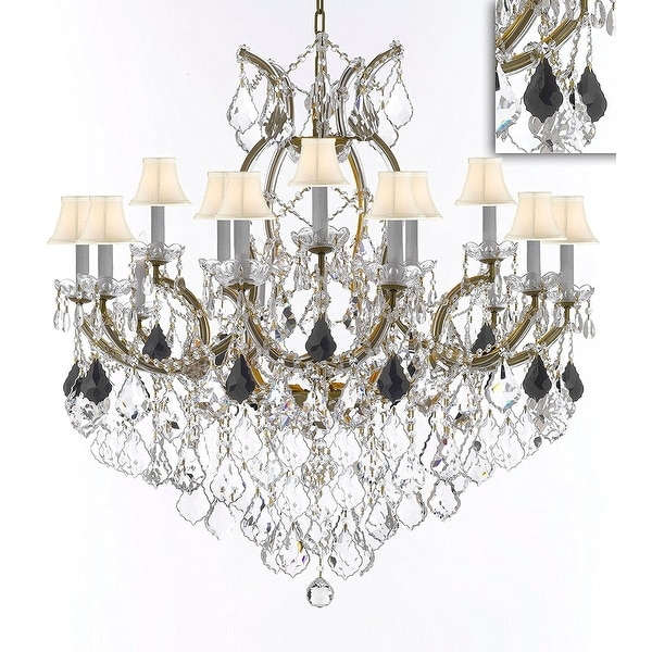 Swarovski crystal trimmed maria theresa chandelier dressed with jet swarovski crystal trimmed maria theresa chandelier dressed with jet black crystal with white shades mozeypictures Images