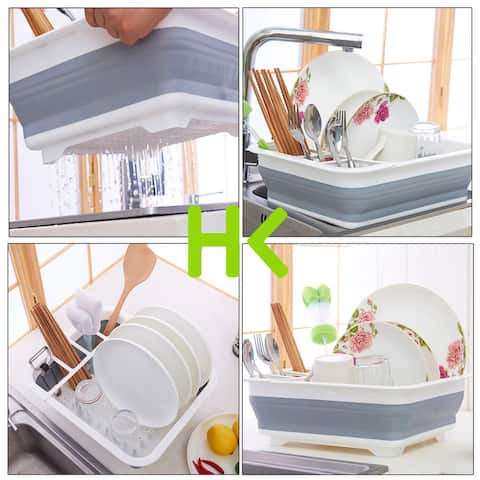 HK Dish Drying Rack Dish Drainer with Utensil Holder Antimicrobial Multi-function Foldable Dish Rack, Suit for Bowls/Pla - L