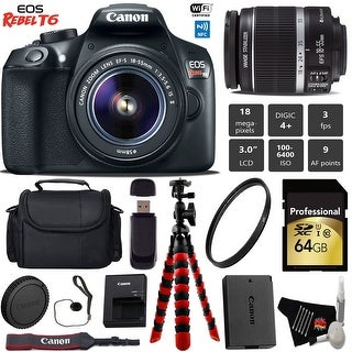 Canon EOS Rebel T6 DSLR Camera with 18-55mm IS II Lens + Professional Case + Card Reader + Bundle 6 (Intl Model)