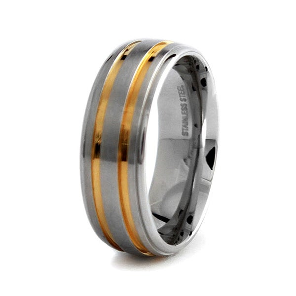 Gold Plated Stainless Steel Wedding Band 8mm (Sizes 8-12)