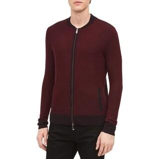 Calvin Klein Mens Cardigan Sweater Wool Long Sleeves