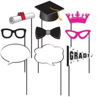 Club Pack of 60 Pink, Black and White Graduation Photo Prop Sticks 10""