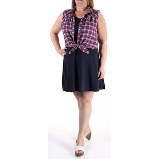 EMERALD SUNDAE New 1377 Navy Includes Plaid Shirt A-Line Dress Juniors S B+B
