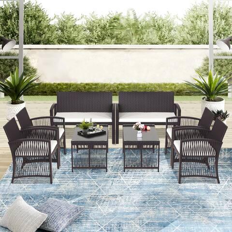 8 Pieces Outdoor Furniture Rattan Chair & Table Patio Set Outdoor Sofa for Garden, Backyard, Porch and Poolside