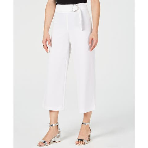 INC International Concepts Women's O-Ring Culottes, Bright White, 14