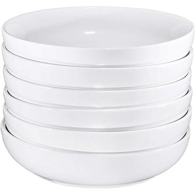 Bruntmor Ceramic Salad, Cereal And Pasta Bowls Set Of 6, Shallow Dinner Bowls That Are Oven, Microwave Oven And Dishwasher Safe