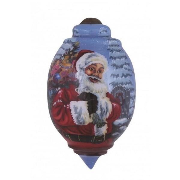"Ne'Qwa ""Santa's Magic Bag"" Hand-Painted Blown Glass Christmas Ornament #7151127"