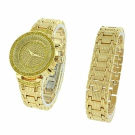 Womens Watch & Bracelet Set Fully Iced Out Simulated Diamonds Stainless Steel Back Quartz Movement