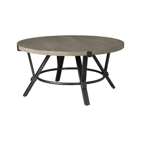 """Zontini Contemporary Light Brown Round Cocktail Table - 36""""W x 36""""D x 18""""H"""