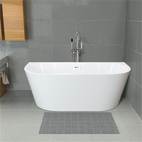 AOOLIVE Freestandin Modern Design White Acrylic Bathtub Stand Alone
