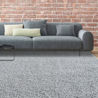 LUXURIOUS AND THICK DOUBLE TEXTURED SHAG AREA RUG IN SMOKE GREY