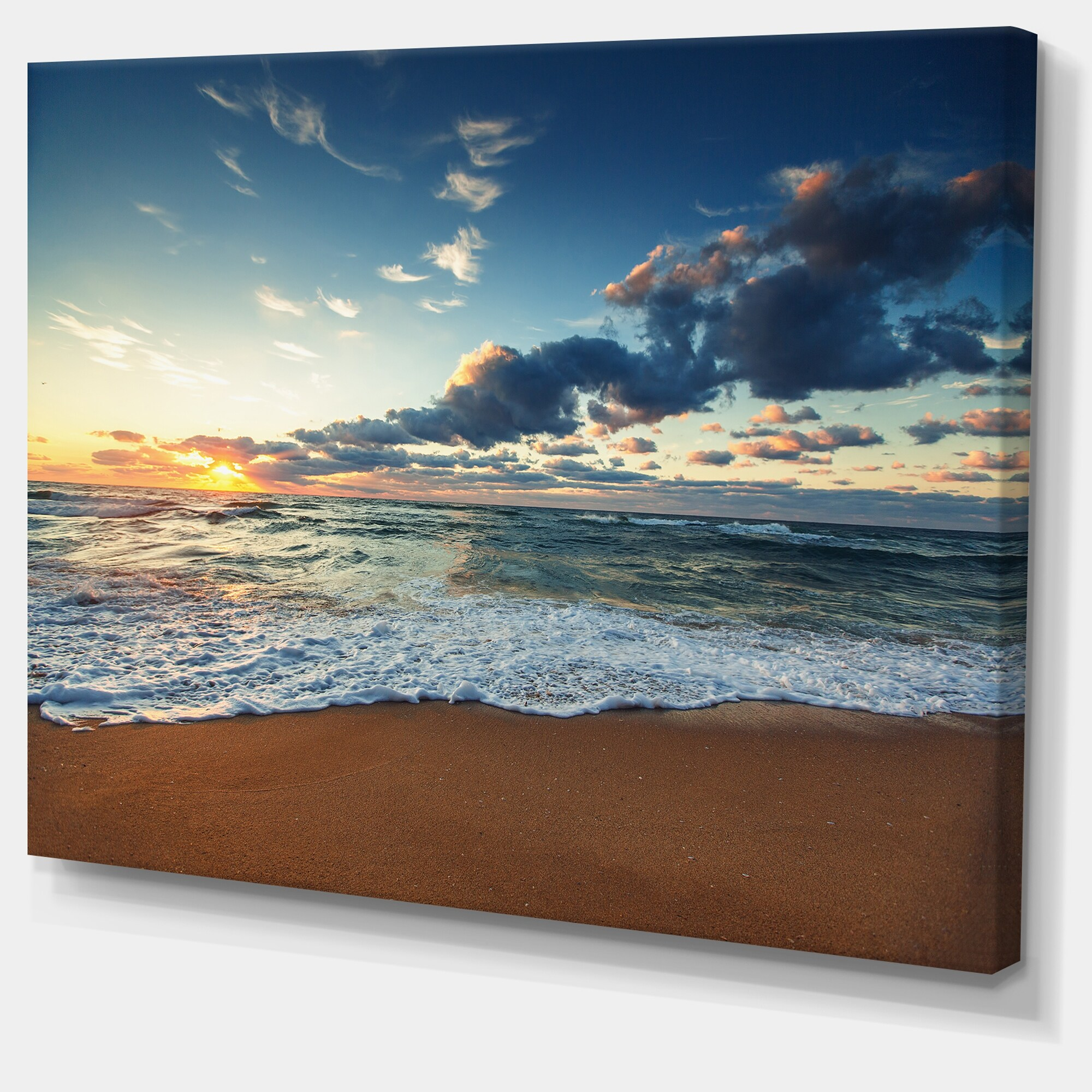 Sunrise-and-Glowing-Waves-in-Ocean-Seashore-Canvas-Wall-Small thumbnail 10