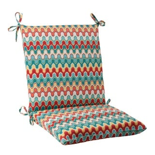 "36.5"" Moroccan Red & Turquoise Outdoor Patio Square Chair Cushion"