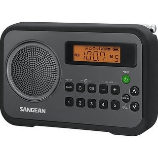 Sangean Pr-D18bk Am/Fm/Clock Portable Digital Radio With Protective Bumper (Black/Gray)