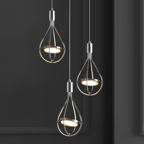 "Orion 11.5"" 3-Light Adjustable Integrated LED Cluster Pendant, Chrome by JONATHAN Y"