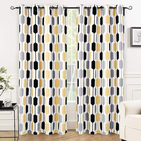 DriftAway Riley Geo Pattern Mid Century Lined Blackout Grommet Window Curtain Panel Pair