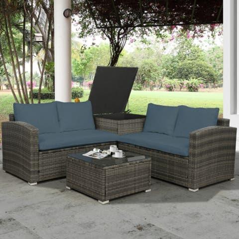 TOPMAX 4 PCS Outdoor Cushioned PE Rattan Wicker Sectional Sofa Set Garden Patio Furniture Set