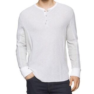 Calvin Klein NEW Gray Slub Waffle Knit Mens Size 2XL Henley Shirt