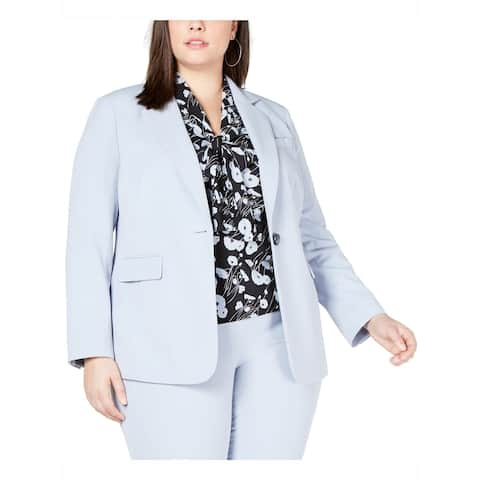 Bar III Women's Jacket Powder Blue Size 24W Plus Single Button