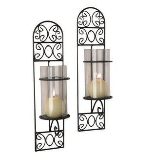 """Danya B QBA568 16"""" Tall Single Candle Wall Sconces with Glass Shades - Set of 2"""