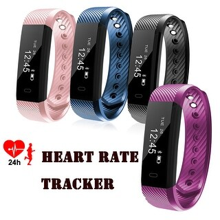 IP67 Waterproof Bluetooth Fitness Tracker Heart Rate Monitor Smart Watch Wristband Bracelet w/Built-in Charger for Andro