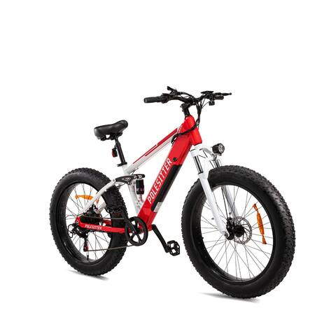 POLESITTER Red and White Adults Electric Mountain Bike in 7 Speed 500W