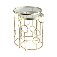 "Cyan Design Perseus Nesting Tables Perseus 18.25"" Diameter Iron and Glass Nesting Table Made in India - Brass - n/a"