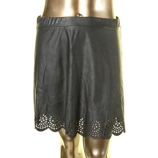 Stoosh Womens Juniors Faux Leather Laser Cut A-Line Skirt