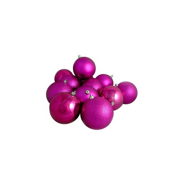 "12ct Shatterproof Light Magenta Pink 4-Finish Christmas Ball Ornaments 4"" (100mm)"