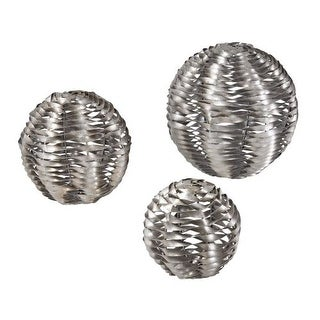 Sterling Industries 138-103/S3 Metal Work Objects - Set of Three - silver leaf