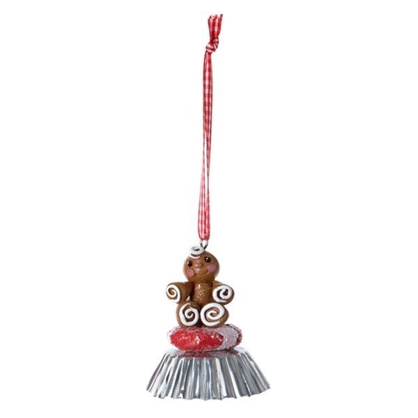 """3"""" Gingerbread Kisses Girl and Cookie on Silver Foil Cup Bell Christmas Ornament - RED"""