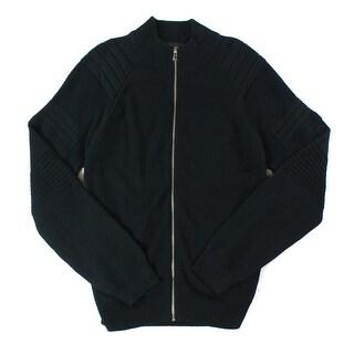 INC NEW Black Deep Mens Size XL Full Zip Mock Neck Ribbed Sweater