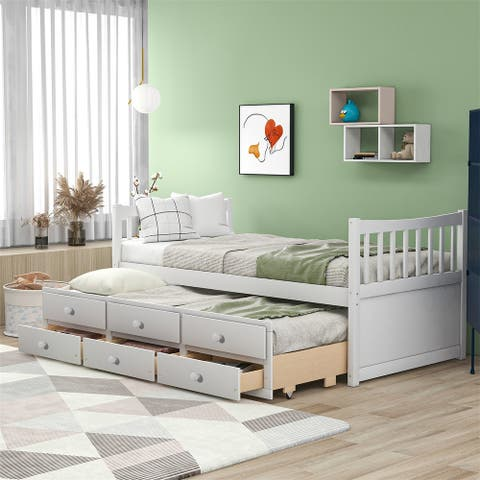 Merax Solid Wood Twin Bed with Trundle and Drawers