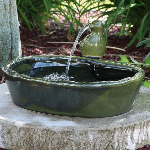 Sunnydaze Solar Green Glazed Dove Outdoor Garden Water Fountain Garden Decor