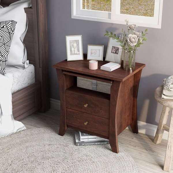 Copper Grove Ettrick Vintage Walnut Modern 2-drawer Nightstand. Opens flyout.