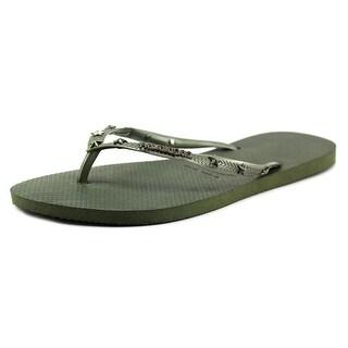 Havaianas Slim Hardware Open Toe Synthetic Thong Sandal