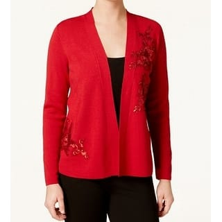 2a29588494 Alfani Red Women s Small S Sequined-Applique Open-Front Cardigan