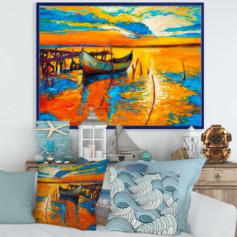 Designart 'Boat During Evening Glow At The Lake VII' Nautical & Coastal Framed Canvas Wall Art Print