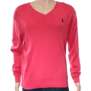 Polo Ralph Lauren NEW Pink Mens Size XL V-Neck Slim-Fit Pima Sweater
