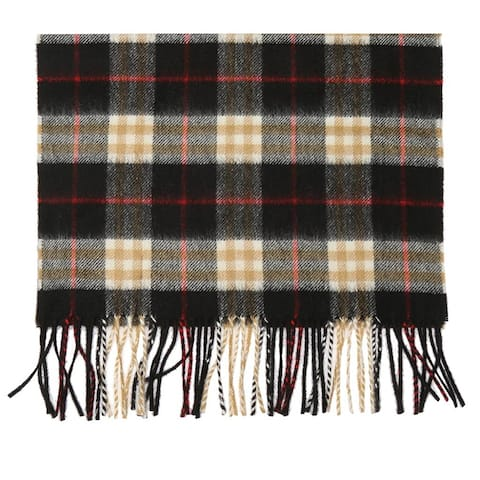Burberry Mens Black Red Check Cashmere Classic Scarf with Fringes