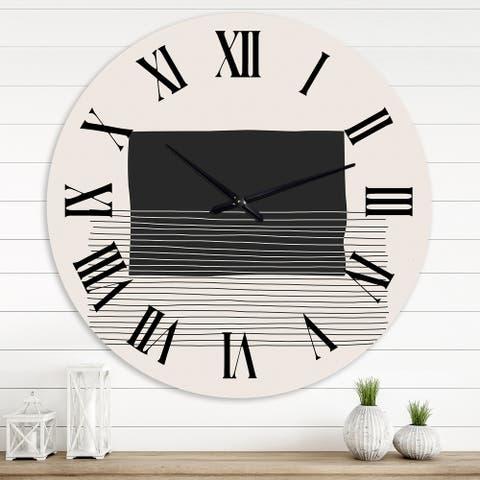 Designart 'Minimal Geometric Lines and Squares VIII' Modern wall clock