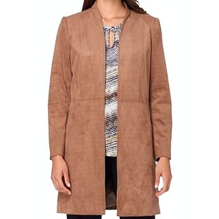 Tahari by ASL NEW Latte Brown Womens Size 2 Faux Suede Topper Jacket