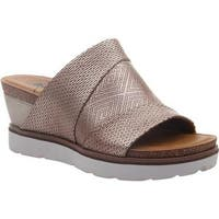 7702d908390 OTBT Women s Earthshine Wedge Slide Light Gold Metallic Perforated Leather